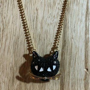 Betsey Johnson Black Pave Cat Pendant Necklace